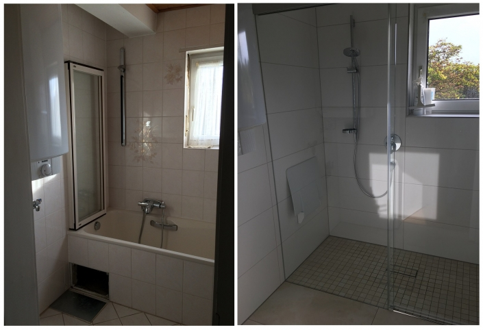 Bodenebene Dusche anstatt Badewanne